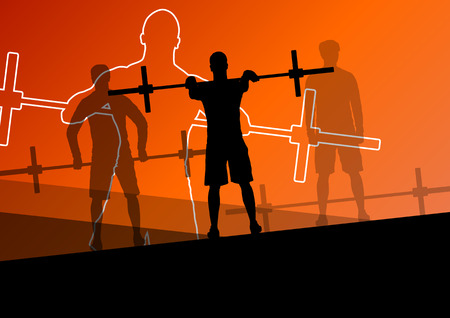 fitness instructor: Men crossfit weight lifting sport silhouettes abstract background illustration vector