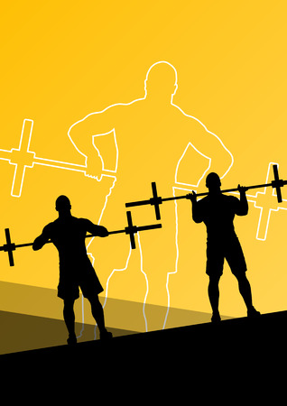 cross bar: Men crossfit weight lifting sport silhouettes abstract background illustration vector