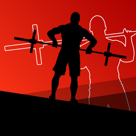 squat: Men crossfit weight lifting sport silhouettes abstract background illustration vector