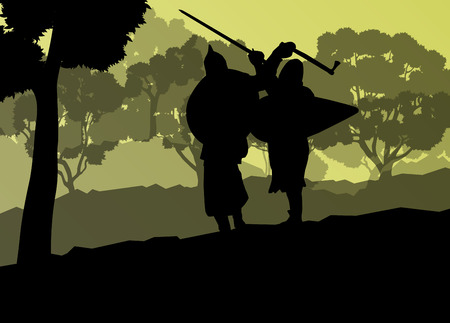 paladin: Medieval warrior, crusader vector background landscape concept with trees and forest