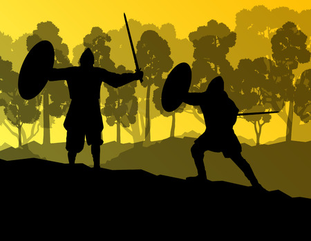 Medieval warrior, crusader vector background landscape concept with trees and forest