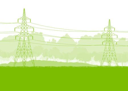 높은 전압 전원 전송 타워 라인 녹색 생태 에너지 개념
