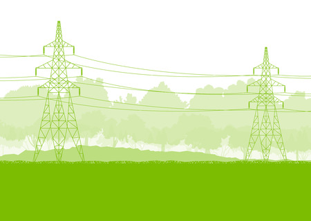 eco power: High voltage power transmission tower line green ecology energy concept