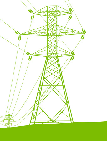 High voltage power transmission tower line green ecology energy concept