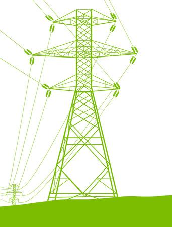 redes electricas: Alta línea de la torre de transmisión de energía de tensión concepto de energía verde ecología