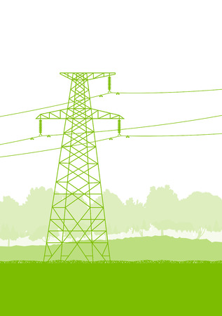 high tension: High voltage power transmission tower line green ecology energy concept
