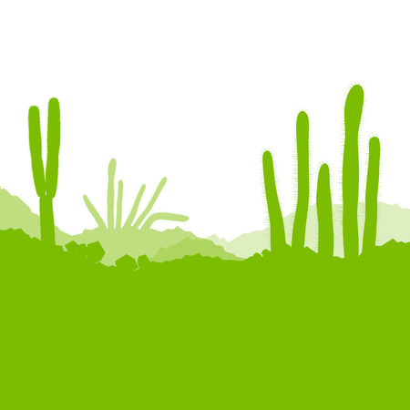 cactus desert: Cactus desert, ecology concept for poster