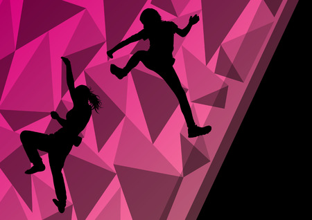 climbing wall: Children girl rock climber sport athlete climbing wall in abstract silhouette background illustration vector