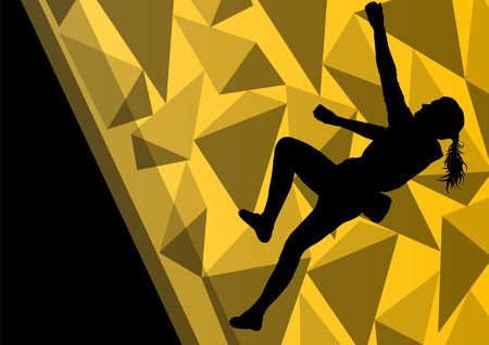 rock climber: Children girl rock climber sport athlete climbing wall in abstract silhouette background illustration vector