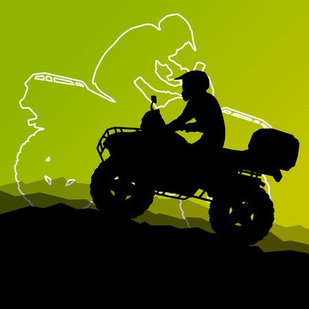 모든 지형 차량 쿼드 오토바이 라이더 야생 자연에서 추상 산 풍경 배경 그림 벡터 일러스트