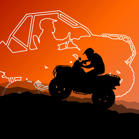 off road: All terrain vehicle quad motorbike riders in wild nature abstract mountain landscape background illustration vector