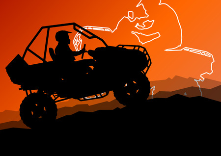 off road vehicle: All terrain vehicle quad motorbike riders in wild nature abstract mountain landscape background illustration vector