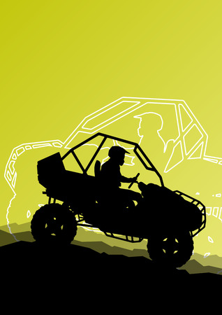 All terrain vehicle quad motorbike riders in wild nature abstract mountain landscape background illustration vector