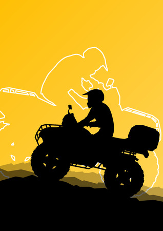 bike trail: All terrain vehicle quad motorbike riders in wild nature abstract mountain landscape background illustration vector