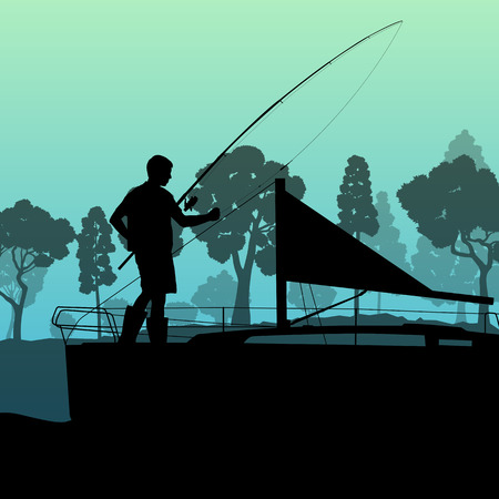 Man fishing on lake from boat vector background landscape for poster Vector