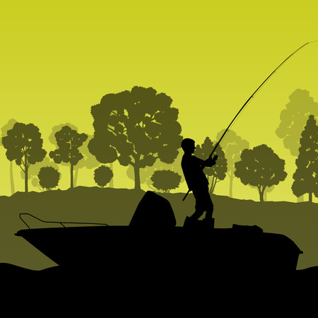 fisherman boat: Man fishing on lake from boat vector background landscape for poster