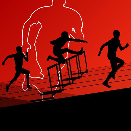 hurdling: Active young men sport athletics hurdles barrier running silhouettes illustration