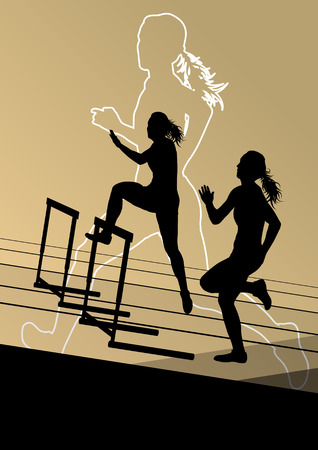 hurdles: Active women girl sport athletics hurdles barrier running silhouettes illustration Illustration