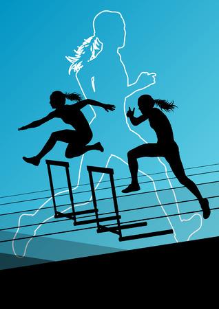 girl sport: Donne attive ragazza sportiva di atletica ostacoli barriera esecuzione sagome illustrazione