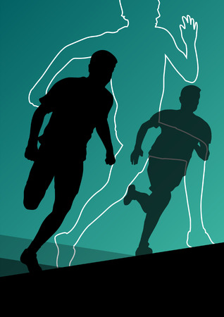 stamina: Active young men sport athletics hurdles barrier running silhouettes illustration
