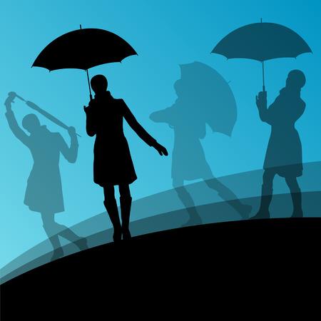 autumn woman: Women umbrella and raincoat silhouettes abstract seasonal outdoor weather background vector illustration