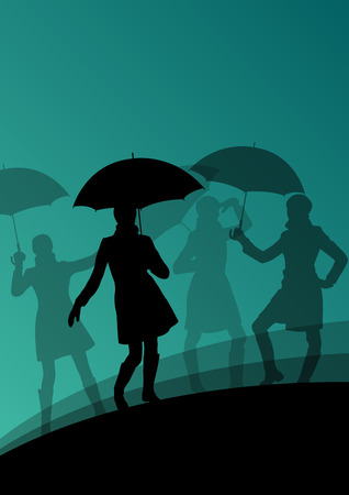 raincoat: Women umbrella and raincoat silhouettes abstract seasonal outdoor weather background vector illustration