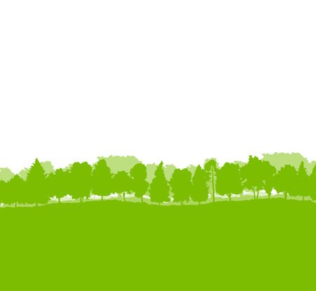 green forest: Forest trees silhouettes landscape illustration background ecology vector concept
