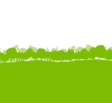 Forest trees silhouettes landscape illustration background ecology vector concept Vector