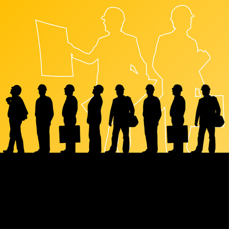 dismissed: Men engineers miners and construction workers in helmets work line crowd unemployment concept vector background illustration Illustration