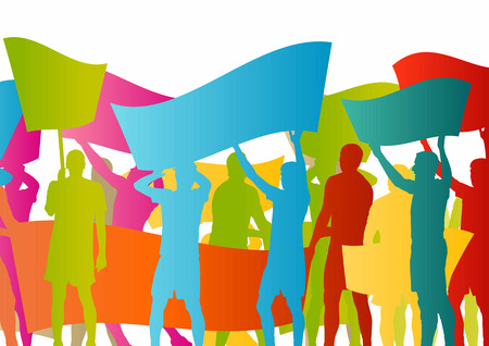 Protesters angry people crowd with posters and flags in abstract riot landscape background illustration 版權商用圖片 - 37765181