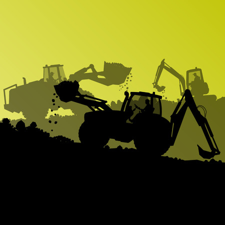 Excavator loader hydraulic machine tractor and worker digging at industrial construction site vector abstract background Illustration