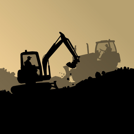 Excavator loader hydraulic machine tractor and worker digging at industrial construction site vector abstract background  イラスト・ベクター素材