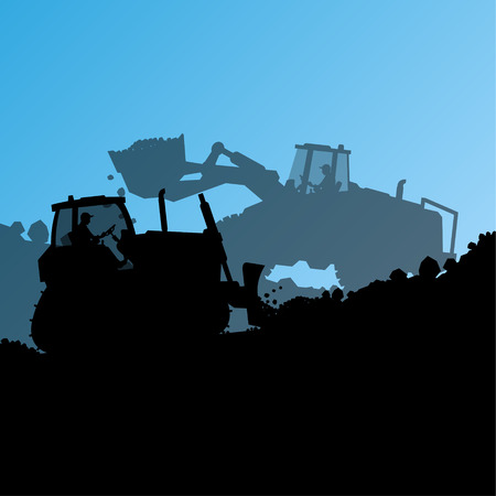 industrial site: Excavator loader hydraulic machine tractor and worker digging at industrial construction site vector abstract background Illustration