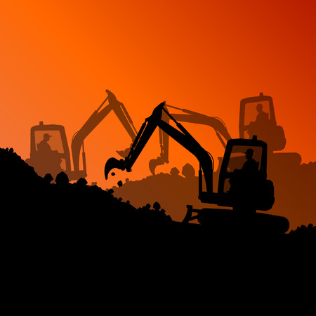 excavating machine: Excavator loader hydraulic machine tractor and worker digging at industrial construction site vector abstract background Illustration