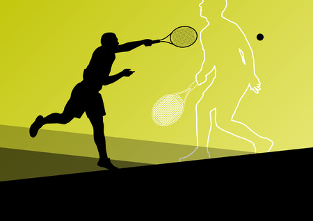 tennis serve: Boy tennis players active sport silhouettes vector abstract background illustration
