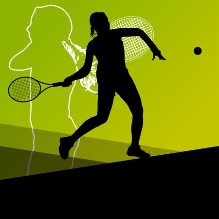 女の子テニス プレーヤー アクティブ スポーツ シルエット ベクトル抽象的な背景イラスト