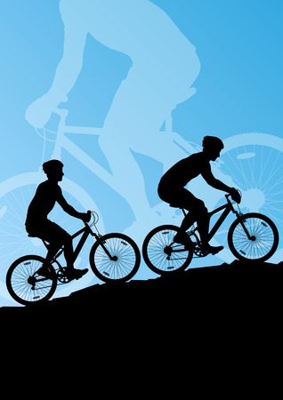 Active men cyclists bicycle riders in landscape background illustration vector