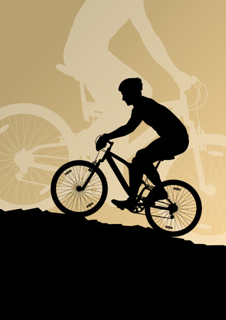 cyclist silhouette: Active men cyclists bicycle riders in landscape background illustration vector