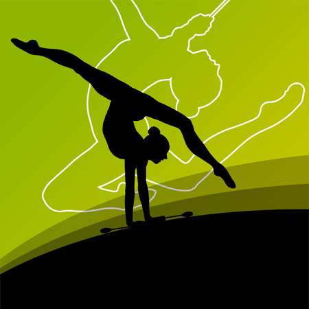 Active young women calisthenics sport gymnasts silhouettes with clubs in acrobatics abstract background illustration vector Banco de Imagens - 37765222