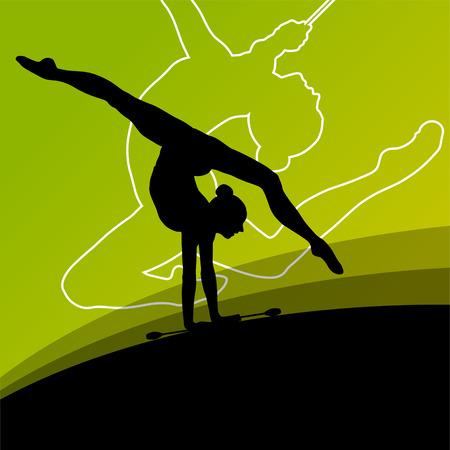acrobacia: Activo mujeres jóvenes calistenia deporte gimnastas siluetas con clubes de acrobacias fondo abstracto ilustración vectorial