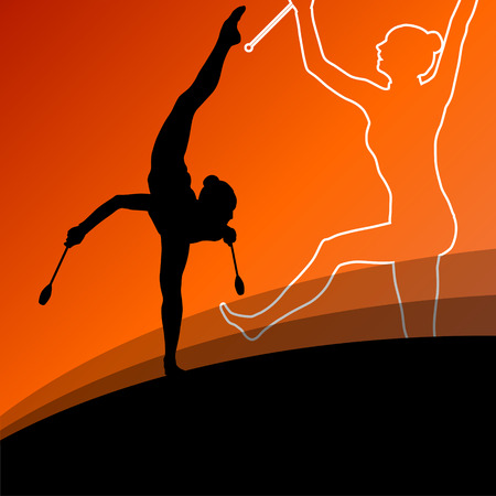 calisthenics: Active young women calisthenics sport gymnasts silhouettes with clubs in acrobatics abstract background illustration vector