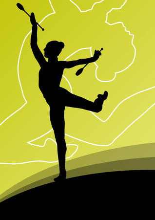 acrobatics: Active young women calisthenics sport gymnasts silhouettes with clubs in acrobatics abstract background illustration vector