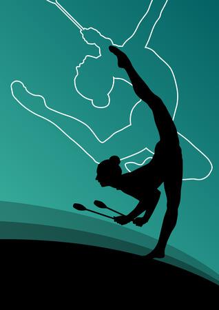 fiatal nők: Aktív fiatal nők calisthenics sport tornászok sziluettek klubok akrobatika absztrakt háttér illusztráció vektor