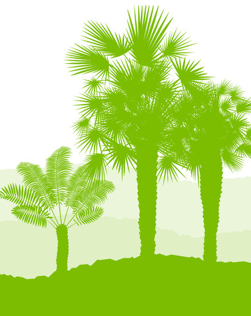 green environment: Palm tree landscape ecology environment green concept background vector