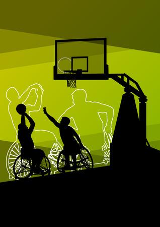Actieve jonge gehandicapte mannen basketballers in een rolstoel gedetailleerde sport concept silhouet illustratie achtergrond vector Stock Illustratie