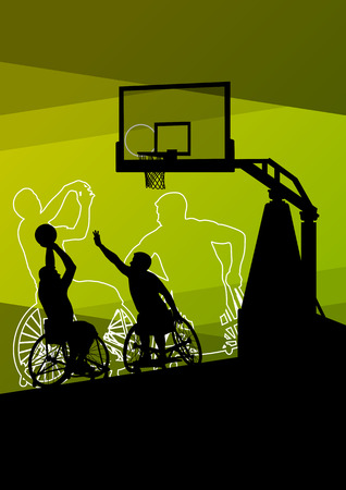 Active young disabled men basketball players in a wheelchair detailed sport concept silhouette illustration background vector