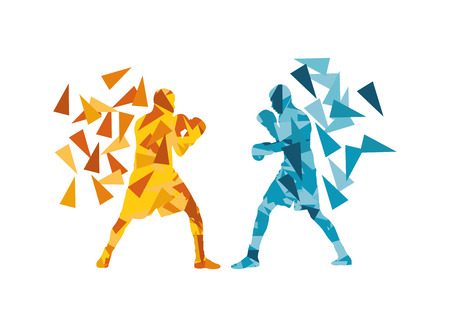 boxing sport: Man boxing fight facing each other in match vector background concept made of triangular fragments Illustration