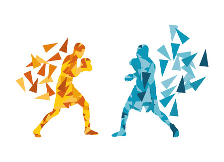 Man boxing fight facing each other in match vector background concept made of triangular fragments Illustration