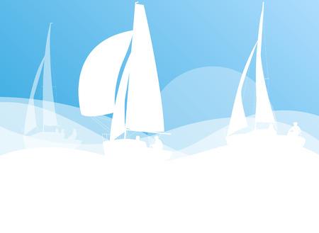 yacht race: Yate de vela concepto de raza vector de fondo la competencia del transporte en colores azul y blanco de luz