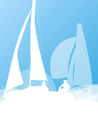 sailing yacht: Sailing yacht race vector background transportation competition concept in light blue and white colors